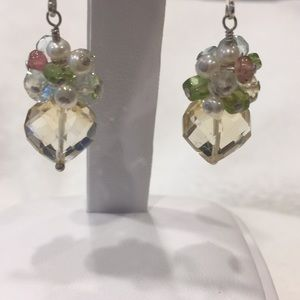Jewelry - Citrine and sterling earrings with gem clusters
